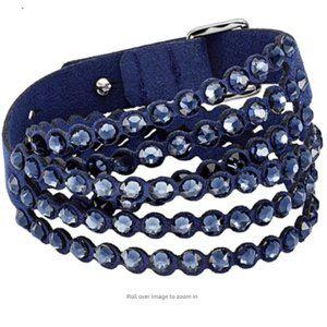 Blue Leather Boho Bracelet with Blue Crystals